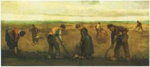 Contadini che piantano patate 1884, olio su tela 1884, kroller Muller Museum Otterlo